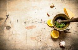 Ingredienser för italiensk pesto Arkivbild