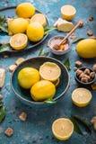 Ingredienser för kallt te: citron, ingefära och honung royaltyfria bilder