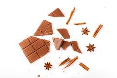 Ingredienser för kryddig varm choklad arkivfoto