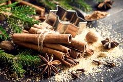 ingredienser för matlagning för anisejul kryddar kanelbruna stjärnasticks fotografering för bildbyråer
