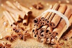 ingredienser för matlagning för anisejul kryddar kanelbruna stjärnasticks Anisstjärna, kanelbruna pinnar och farin arkivbilder