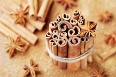 ingredienser för matlagning för anisejul kryddar kanelbruna stjärnasticks Anisstjärna, kanelbruna pinnar och farin royaltyfri fotografi