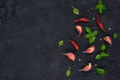 Ingredienser för matlagning Bästa sikt av vitlök, basilika och chili på mörk bakgrund royaltyfria foton