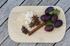 Ingredienser för plommondriftstopp Royaltyfri Bild