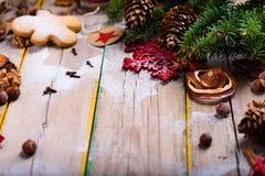 Ingredienser för selebrating jul Stekheta kakor bästa sikt, fotografering för bildbyråer