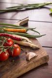 Ingredienser för thailändsk mat, lemongrass, ingefära, vitlök, coctail Arkivbilder