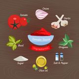 Ingredienser f?r tomats?s Plan illustration: ingredienser av pizzas?sen: olivolja, tomater, vitl?k, l?k stock illustrationer