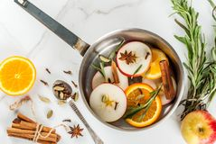 ingredienser mulled wine Arkivfoto