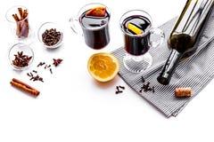 ingredienser mulled wine Kryddakanel och badian, citrusfrukter på vit bakgrundscopyspace Royaltyfri Foto