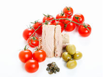 Ingredienser, oliv och tonfisk för tomatsås Royaltyfri Foto