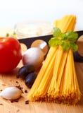 ingrediensspagetti arkivbild