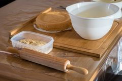 Ingredients and tools for baking a cake stock photo