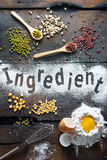 Ingredient for bakery. On wood background Stock Images