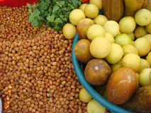 Ingredient for black chickpea chaat. Ingredient for indian street black chickpea chaat with lemon, cucumber and mint leaf Royalty Free Stock Image