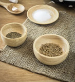Ingredient in bowl on wooden table Royalty Free Stock Image