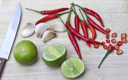 Ingredient for cooking prepare. Lemon garlic and chili for cooking Royalty Free Stock Photo
