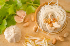 Ingredient for cooking Thai noodle. On wood background Royalty Free Stock Image