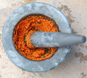 Ingredient of curry in mortar mix Royalty Free Stock Photo