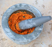 Ingredient of curry in mortar mix Royalty Free Stock Photos