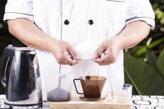 Ingredient Fresh coffee and Filter cup Royalty Free Stock Photography
