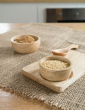 Ingredient grain, wheat germ and  Brown sugar  in wooden bowl Royalty Free Stock Image