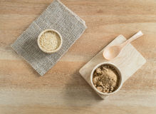 Ingredient grain, wheat germ and  Brown sugar  in wooden bowl Stock Photography