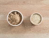 Ingredient grain, wheat germ and  Brown sugar  in wooden bowl Stock Images
