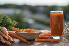 Ingredient of healthy nutrition carrots, in different dishes Stock Photography