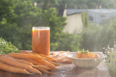 Ingredient of healthy nutrition carrots, in different dishes Stock Images