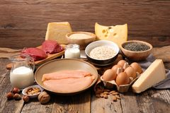Ingredient high in protein. Assorted raw ingredient high in protein stock photo