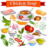 Ingredient for Indian Chicken Soup recipe with vegetable and spices Stock Photo