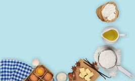 Ingredient. Background recipe table egg overhead cake Stock Photos