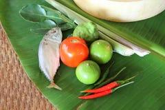Ingredient of mackerel spicy lemongrass soup Stock Photography