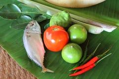 Ingredient of mackerel spicy lemongrass soup Stock Images