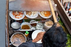 Ingredient of noodle in the boat. Selective focus stock images