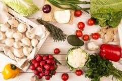 Ingredient for preparing dinner: mushrooms and fresh organic homegrown vegetable stock image