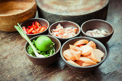 Ingredient of raw food in small wood cup Royalty Free Stock Photography