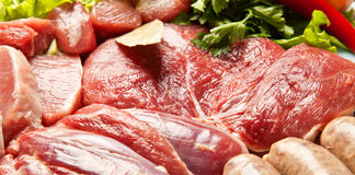 Ingredient's of fresh meat ready to cook on barbecue Royalty Free Stock Photo