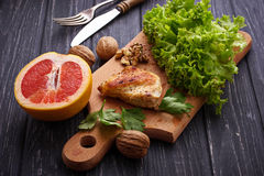Ingredient for salad with chicken and grapefruit. Royalty Free Stock Photo