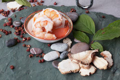 Ingredient of shrimp on the table stone meal cooked fresh Chinese food Royalty Free Stock Photos