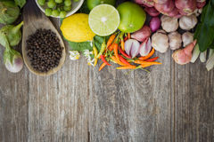 Ingredient space blank on grain wood. Top view royalty free stock photography