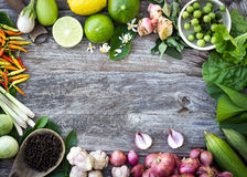 Ingredient spices on grain wood Stock Photography