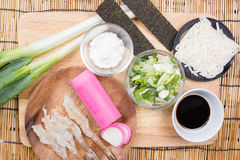 Ingredient of Tempura Udon. / Cooking Tempura Udon concept royalty free stock photography