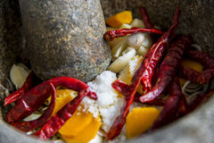 Ingredient of Thai curry are in the mortar Stock Images