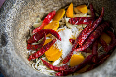 Ingredient of Thai curry are in the mortar. 2 Royalty Free Stock Images