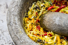 Ingredient of Thai curry are in the mortar during pound Stock Images