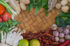 Ingredient Thai Food On Weave Background 2 Royalty Free Stock Photography