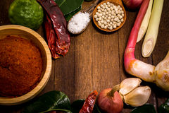 Ingredient of Thai Red curry paste Royalty Free Stock Images