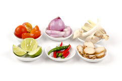 Ingredient of thai spicy soup (Tom Yum) Royalty Free Stock Image