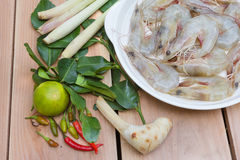 Ingredient for Tom Yum Kung or spicy soup with shrimp, thai cuis Royalty Free Stock Photography